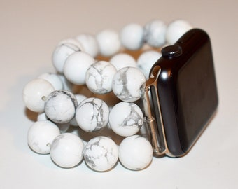White Howlite 3 Strand Apple Watch Band with Personalized Gift Box