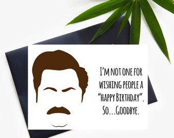 Funny Parks and Rec birthday card, Ron Swanson Greeting Card, Parks and Recreation