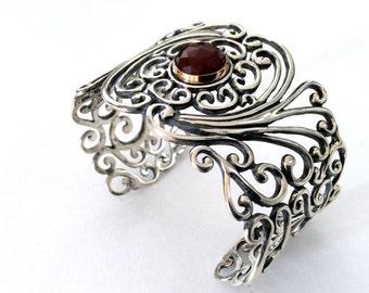 Wide filigree cuff, Sterling silver gold cuff, filigree bracelet, carnelian bracelet, statement cuff, bohemian jewelry - All you need B3001