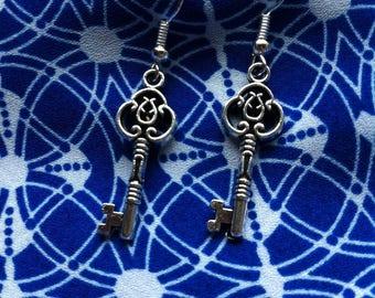 Boho earrings, pretty, small,silver key earrings, steampunk earrings, mini key earrings, boho jewellery, silver key earrings, gypsy earrings