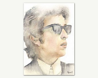 Bob Dylan Print, Original Watercolor Portrait Painting, Printable Wall Art, Home Decor, Gift For Music Fans, Instant Download