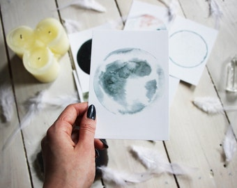 Moon collection - Lunar postcard #4 - Watercolor Art - Archival Print