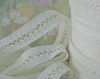 3yds Stretch Lace Mesh Ribbon off white 5/8 inch wide Elastic Trim for Baby Headbands Garters Lingerie trim  Elastic by the yard