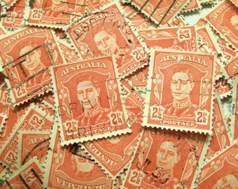 200 Red Stamps, Vintage stamps, Stamp Art, Craft Stamps, Card Making, Collage