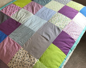 Handmade Quilted Patchwork Quilt /Throw