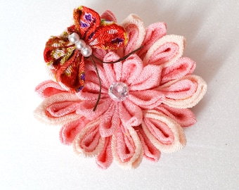 Beautiful Japanese Fabric Flower with Butterfly/brooch/clip/tsumami technique/Chirimen