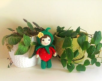 Crochet strawberry doll one of a kind