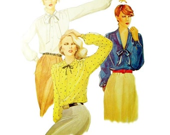 Vintage McCall's 6763 Size 10 Buttoned Blouse Gathered into Yoke 3 Necklines Long Sleeves