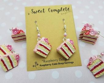 Raspberry Delight layered miniature cake charm, earrings or pendant