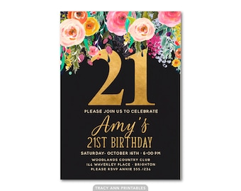 21st Birthday Invitation, Floral 21st Birthday Invite, 21st, 30th, 40th, 50th, 60th, 70th. Black and Gold Invitation 3070