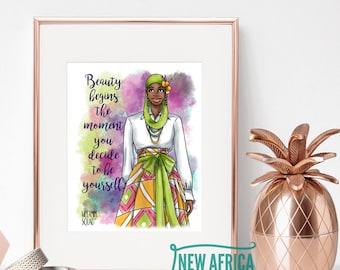 "Melanin Squad Art Print ""Najla"", Art print - Unframed, African American Art, 8 x 10, 11 x 14"