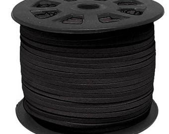 Suede cord black 3mms wide 1 mm thick