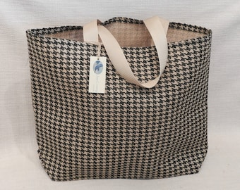 Over-sized Hounds Tooth Burlap Market Bag