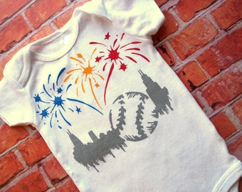Chicago Baseball Celebration Onesie (Primary Colors Red Yellow Blue with Deep Gray) 6-9M Baby Bodysuit