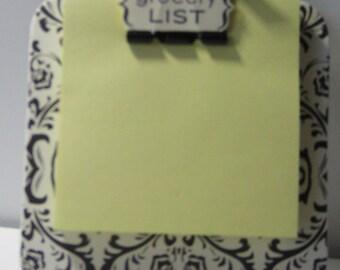 Damask Chipboard Coaster Sticky Note Magnetic Holder