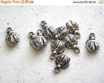 HALF PRICE 10 Small Silver Ladybug Charms - 10mm