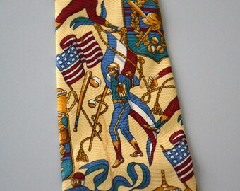 Vintage PRIMAVERA tie / American baseball player pattern / pure silk