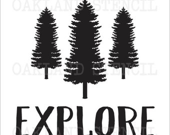 """Inspirational STENCIL *Explore with Trees* 11""""x11"""" for Painting Signs, Canvas, Fabric, Wood, Airbrush, Crafts, Wall Art and Decor"""