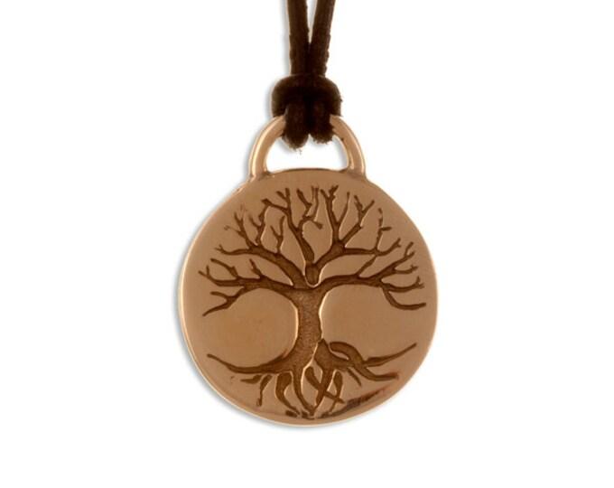Tree of life disc bronze pendant -Hand Made in UK