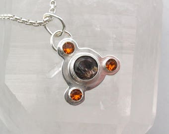 Super Seven and Citrine Pendant Artisan Jewelry Magick Crop Circle Sterling Silver
