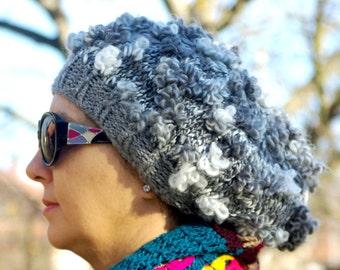 """Women's Crochet Hat: """"GREY WHITE HAT"""" Girl Crochet Hat , women beanie, women hat beanie, Womens Knit Hats , skull caps beanies A159"""