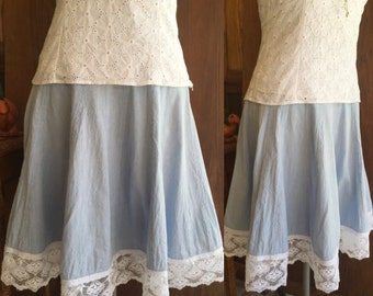 Women's Chambray Cotton Midi Skirt With Lace Hemline, Size Large