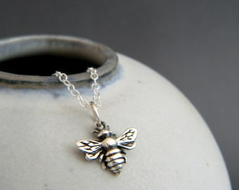 tiny honey bee necklace. sterling silver honeybee pendant. animal spirit totem. small simple delicate everyday jewelry. good luck charm gift