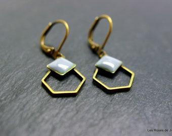 Art deco earrings, Hexagon earrings
