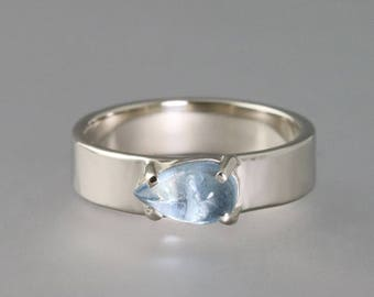 Hammered 14k White Gold Aquamarine Ring - Wide Modern Band - Alternative Engagement or Wedding Ring - Pear Shaped Blue Stone - Made to Order