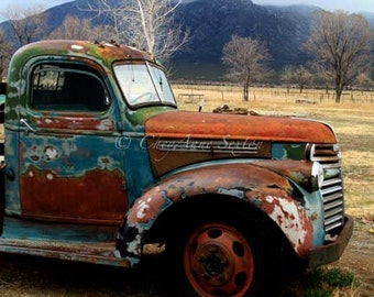 Old Chevrolet Pickup 'Out in the Field' Antique farm vehicle Brown Rusty Blue - photograph 8x8