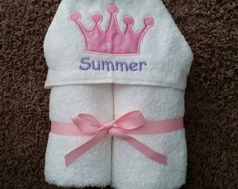 Personalized Princess Crown Hooded Towel