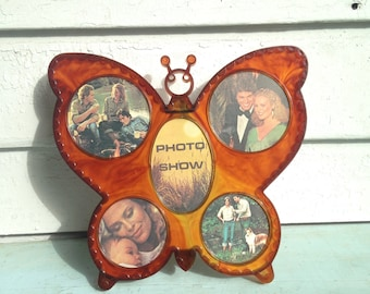 vintage 1970s BUTTERFLY picture frame, display 5 photos, photographs - nos, deadstock, new old stock, never used in ORIGINAL BOX