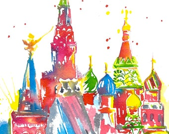 Watercolor Wanderlust Travel Moscow -  Russia Traveling illustration Art Print by Lana Moes