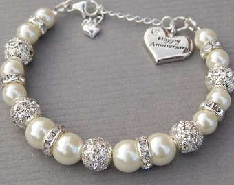 Happy Anniversary Charm Bracelet, Anniversary Gift, 1st Anniversary Gift, Anniversary Present, Wedding Anniversary, Anniversary Gift Her