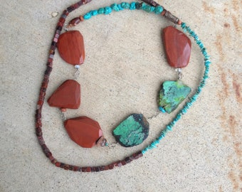 turquoise and red jasper long necklace, red and turquoise