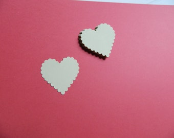 1.75 in Scalloped Heart Die Cuts, Hand punched hearts choose amount & color, Great for confetti, diy craft project, weddings, Valentines day