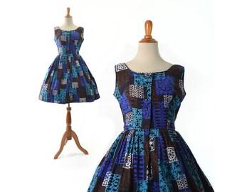 Reserved- 1950s Dress Vintage Dress 50s Dress Blue Dress 1950s Cotton Dress Rockabilly Dress womens Dress 1950s vintage Clothing small dress