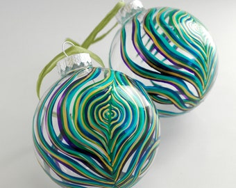 Peacock Feather Glass Ornament - Large Ornament Hand Painted in your choice of Gold or Silver Accents