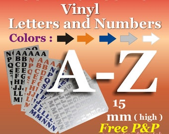 15mm Vinyl A-Z Letters * Self Adhesive * Peel & Stick*Signs*Crafts*