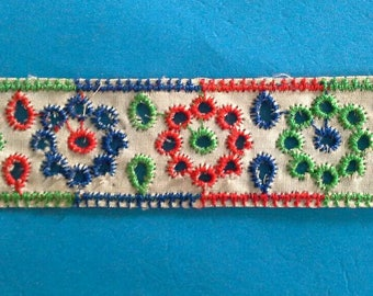 Colorful Eyelet Ribbon Sewing Trim 3 Yards by  1 Inches Wide L0603 Red, Gree, Blue Embroidered Lace