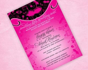 Print Your Own Lingerie Shower Invitation Flirty & Sweet