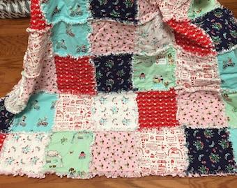 Farmers Market Rag Quilt Blanket