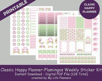 Flamingos CLASSIC Happy Planner Printable Stickers, Weekly Kit, Planner Kit, Printable Stickers, CLASSIC Happy Planner, Instant Download