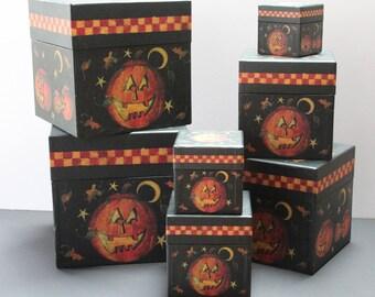 Halloween Jack-O-Lantern Stacking Boxes/Seven Jack-O-Lantern Halloween Stacking Boxes/Halloween