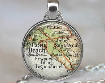 Long Beach map necklace,  Long Beach necklace, Long Beach map pendant, Santa Ana pendant, Long Beach pendant keychain key chain key ring fob