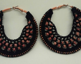 Black & Pink beaded leverback pierced hoop crochet earrings