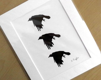 Limited edition crow print, A5, black and white, bird print, wildlife art, bird art, crow art, gothic art, crow drawing, charcoal drawing,