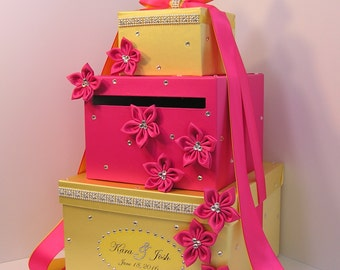 Wedding Card Box Shocking Pink/Fuchisa and Yellow Gift Card Box Money Box Holder--Customize your color
