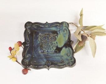 Midnight Owl Spoon Rest, Ring Holder, Ceramic Soap Dish