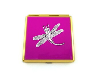 Dragonfly Square Compact Mirror Hand Painted Enamel Fuchsia Enamel Inlaid with Art Nouveau Antique Silver Insect with Personalized Options